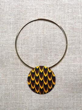 Collier Kirdi / Wax tribal jaune / Collier jaune / Tissu africain