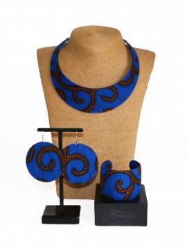 Parure Bantu / Wax conseillé bleu / Bijoux wax / Tissu africain