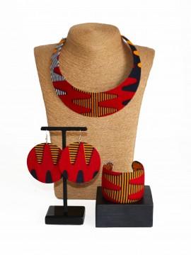 Parure Bantu / Wax batik multicolore / Bijoux wax / Tissu africain