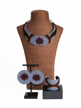 Parure Bantu / Wax congrès gris / Bijoux wax / Tissu africain