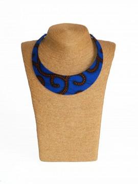 Collier Bantu / Wax conseillé bleu / Collier africain / Tissu africain bleu