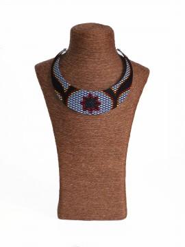 Collier Bantu / Wax congrès gris / Collier africain / Tissu africain