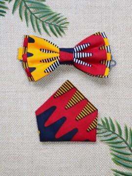 Noeud Valentin & mouchoir / Wax batik rouge / Noeud papillon wax / Tissu africain