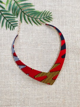 Collier Makeda / Wax batik multicolore / Collier africain / Tissu africain