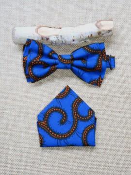 Noeud Valentin & mouchoir / Wax conseillé bleu / Noeud papillon wax / Tissu africain