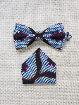 Ensemble Valentin / Wax congrès gris / Noeud papillon wax / Mouchoir / Tissu africain