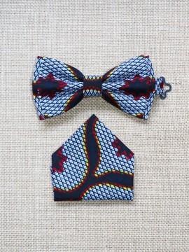 Noeud Valentin & mouchoir / Wax congrès gris / Noeud papillon wax  / Tissu africain