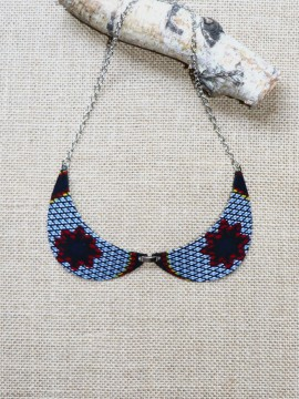 Collier Col Claudine / Wax congrès gris / Collier africain / Tissu africain