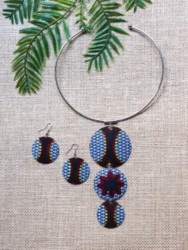 Parure Wanda / Wax congrès gris / Collier gris / Bijoux africain