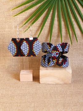 Ensemble Akan / Wax congrès gris / Bijoux wax / Tissu africain