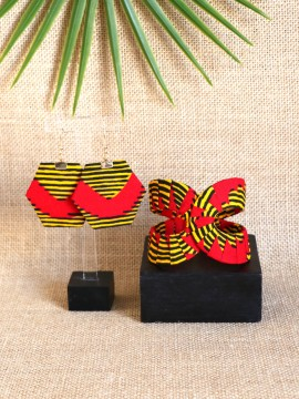 Ensemble Akan / Wax chacha rouge / Bijoux wax / Tissu africain