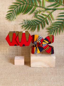 Ensemble Akan / Wax batik rouge / Bijoux wax / Tissu africain