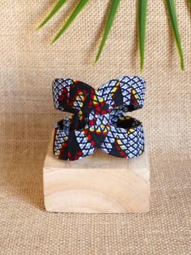 Manchette Akan / Wax congrès gris / Bracelet africain / Tissu africain