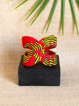 Manchette Akan / Wax chacha rouge / Bracelet africain / Tissu africain