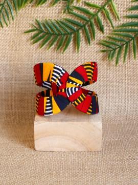 Manchette Akan / Wax batik rouge / Bracelet africain / Tissu africain