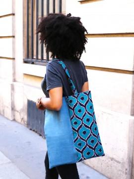 Tote wax & jean, Wax congrès vert, tote bag wax, Tissu africain