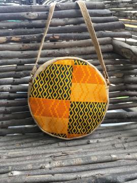 Petit sac rond / Wax kente jaune / Toile de jute / Tissu africain