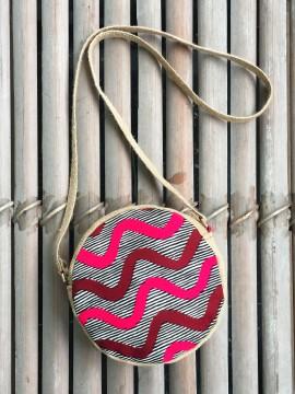 Petit sac rond / Wax chacha gris / Toile de jute / Tissu africain