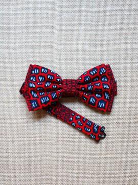 Noeud papillon Valentin / Wax animal rouge / Tissu africain / Imprimé wax
