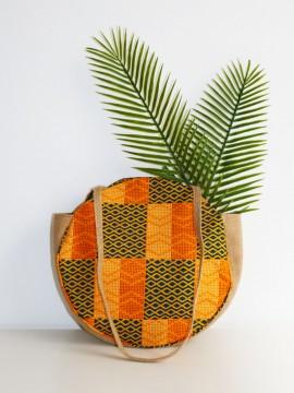 Mini shopper rond / Wax kente jaune / sac de plage / Tissu africain