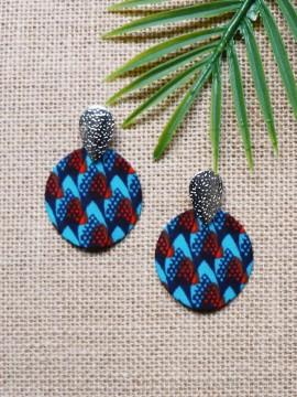 Boucles d'oreilles Boho / Wax écailles bleu / Cercles / Tissu africain