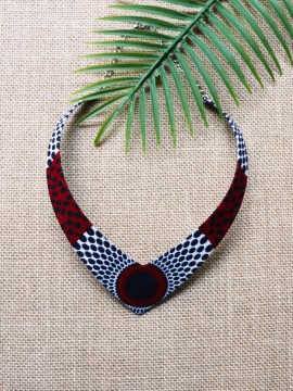 Collier Makeda / Wax disques bordeaux / Collier africain / Tissu africain