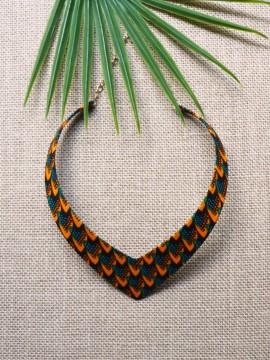 Collier Makeda / Wax écailles vert / Collier africain / Tissu africain