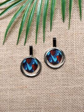Boucles d'oreilles Ano / Wax écailles bleu / Cercles / Tissu africain