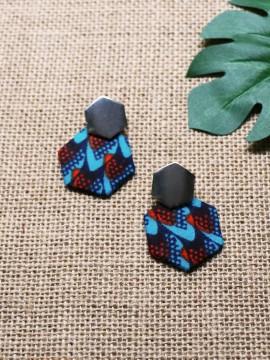 Boucles d'oreilles Dan / Wax écailles bleu / Pentagones / Tissu africain