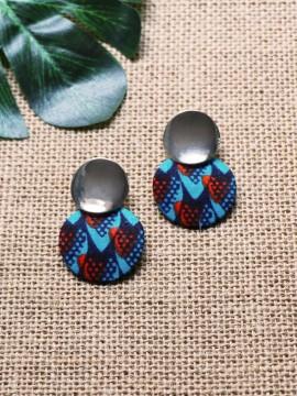 Boucles d'oreilles Aro / Wax écailles bleu / Cercles / Tissu africain