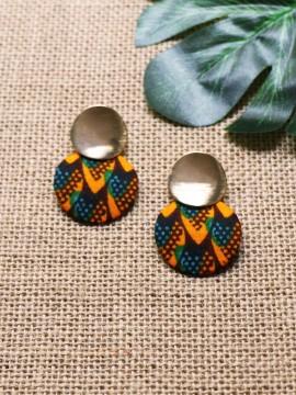 Boucles d'oreilles Aro / Wax écailles vert / Cercles / Tissu africain