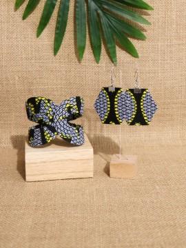 Ensemble Akan / Wax congrès jaune / Bijoux wax / Tissu africain
