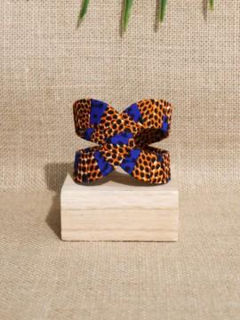 Manchette Akan / Wax disques orange / Bracelet africain / Tissu africain