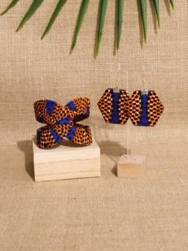 Ensemble Akan / Wax Disques orange / Bijoux wax / Tissu africain