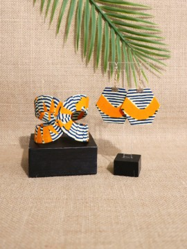 Ensemble Akan / Wax Chacha orange / Bijoux wax / Tissu africain