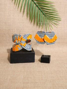 Ensemble Akan / Wax conseillé rose / Bijoux wax / Tissu africain