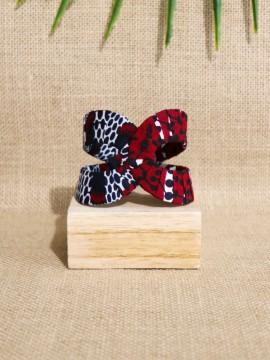 Manchette Akan / Wax disques bordeaux / Bracelet africain / Tissu africain