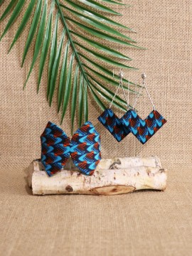 Ensemble papillon / Wax écailles bleu / Bijoux wax / Tissu africain