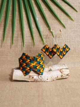 Ensemble papillon / Wax écailles vert / Bijoux wax / Tissu africain