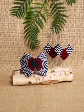 Ensemble papillon / Wax disques bordeaux / Bijoux wax / Tissu africain