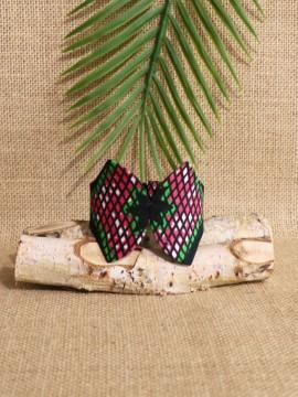 Manchette Papillon / Wax congrès rose / Bracelet rose / Tissu Africain