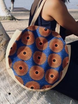 Shopper bag rond / Wax Disques orange / sac de plage / Tissu africain