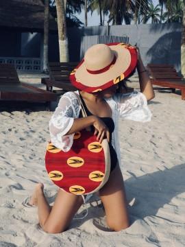 Shopper bag rond / Wax hirondelles bordeaux / sac d'été / Tissu africain