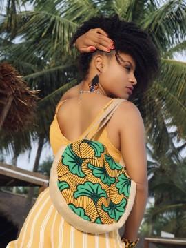 Mini shopper rond / Wax fleurs vertes / sac d'été / Tissu africain