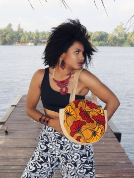 Mini shopper rond / Wax fleurs rouges / sac d'été / Tissu africain