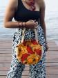 Cabas wax & jute / Wax hirondelles rose / sac de plage / Tissu africain