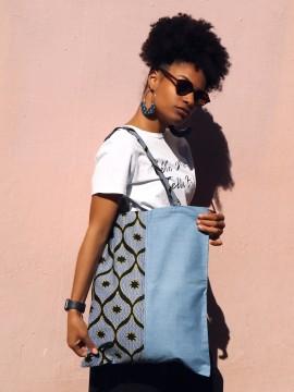 Tote wax & jean / Wax congrès jaune / tote bag wax / Tissu africain