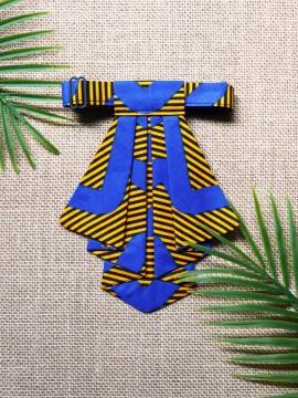 Crawax / Wax Chacha bleu / Cravate pour femme / Tissu africain