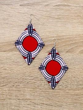 Boucles d'oreilles losanges / Wax batik rouge / losanges / Tissu africain