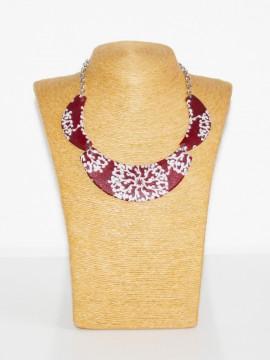 Collier demi lune / Wax batik bordeaux / Collier africain / Imprimé africain